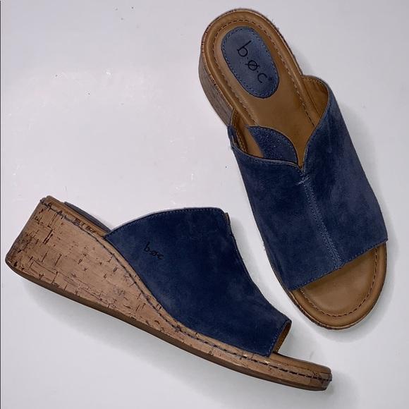 boc Shoes - b.o.c Blue Suede Breezy Slip On Wedge Sand…